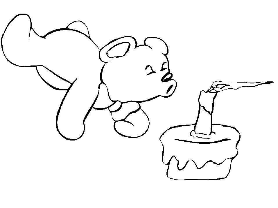 Disegno Da Colorare Compleanno Colora Un Orsetto Che Spegne La Sua