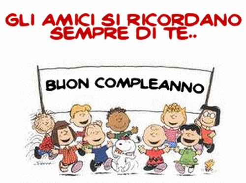 Vignetta Compleanno Con Snoopy Con La Frase Gli Amici Si Ricordano
